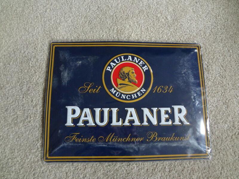 "PAULANER MUNCHEN Embossed Beer Sign-11 1/2"" x 15 1/2""-New-Sealed"