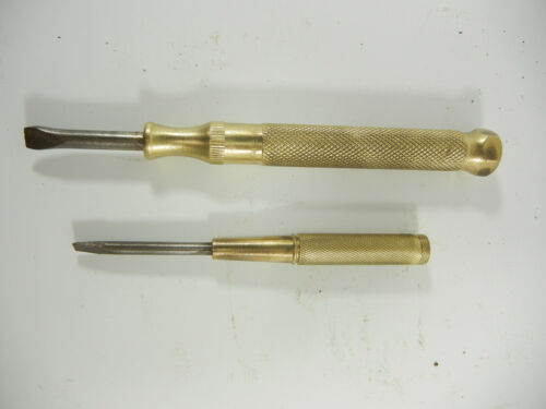 Vintage lot of 2 Brass Nesting Screwdrivers I377A