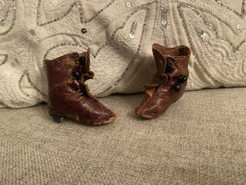 "Antique Leather Doll Shoes/Boots Button Up Heels For French Fashion Doll 2"" Long"