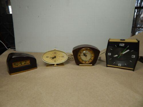 lot of 4 unusual vintage Electric ALARM CLOCKS Mid-century DECO