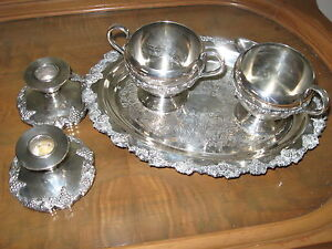 silver-plated cream/sugar,tray & candle holders,grapevine design