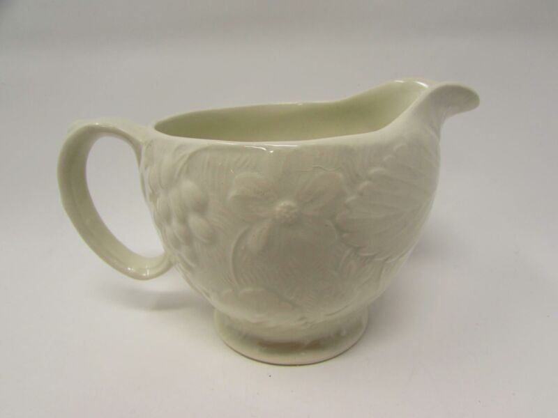 Strawberry and Grape Leaf White by Burleigh Creamer Embossed Davenport b352