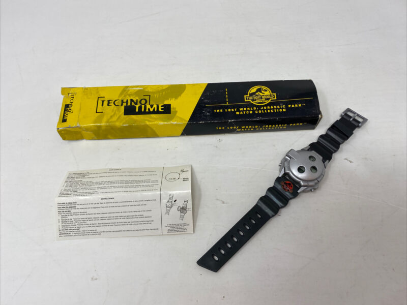 Vintage Jurassic Park The Lost World Techno Time 1997 Watch Burger King W/ Box