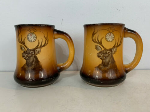 Antique BPOE Elk Lodge Pottery Pair Mugs Cups By Taylor, Smith & Taylor Co.