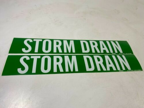 "BRADY 7273-1 Pipe Marker, Storm Drain, 2-1/4"" H,14"" W - Lot of 2!"