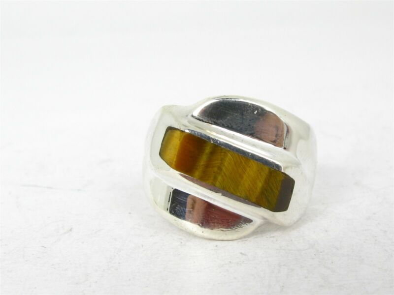 Vintage Sterling Silver Mexico 15mm Natural Tigers Eye Mens Band Ring 16.7g B32