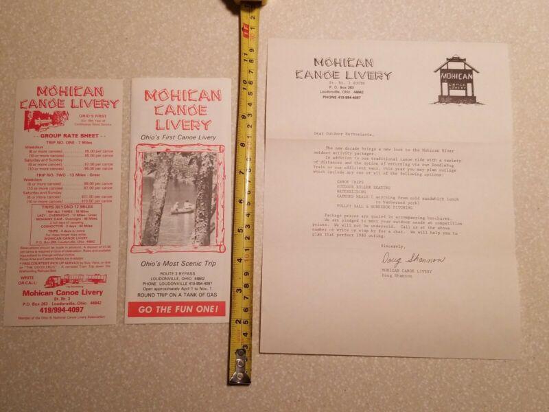 MOHICAN CANOE LIVERY BROCHURE LETTERHEAD OLD VINTAGE LOT LOUDONVILLE OHIO