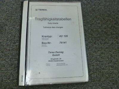 Terex Model Ac120 All Terrain Hydraulic Crane Load Chart Capacities Manual
