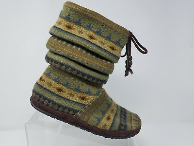 Taos Womens Cabin Slouch Boot Size 7 W Green Brown Knit Winter Slip On Shoe for sale  Shipping to Canada