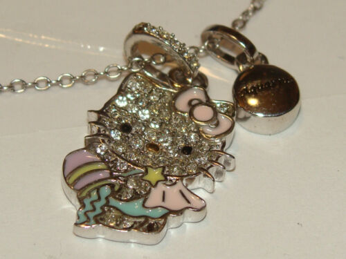 HELLO KITTY ZODIAC AQUARIUS Sterling 925 Pave Crystal Enamel Pendant Necklace
