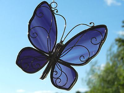 Stained Glass Purple Butterfly Sun Catcher