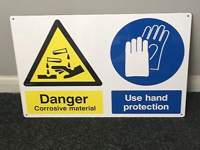 """Used,  """"Danger - Corrosive material/Use hand protection"""" laminated board sign.  for sale  Corby"""