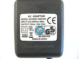1A/1000MA 12V AC/AC OUTPUT MAINS POWER ADAPTOR/SUPPLY/CHARGER/TRANSFORMER