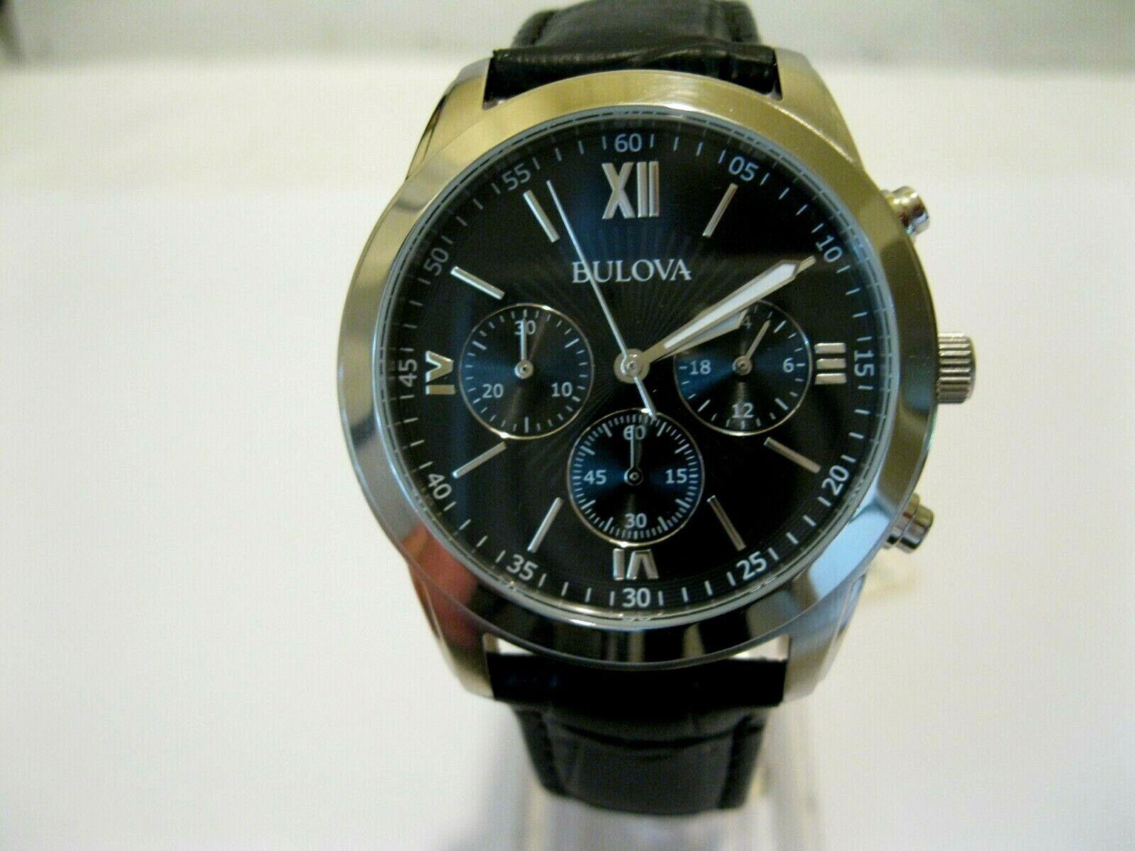 Bulova Men's 96A173 Black Dial Chronograph Black Leather Str