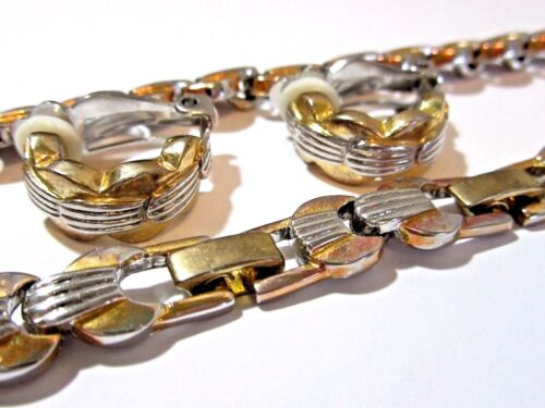 VINTAGE THICK METAL LINK NECKLACE MATCHING CLIP EARRINGS SET RIBBED TWO TONE