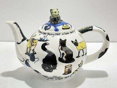 2004 Cat Tea Cardew Design 6 Cups Lidded Teapot for Cat Kitty Kitten Lovers EUC