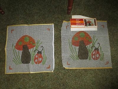 2 MUSHROOM & LADY BUG Latch Hook CANVASES ONLY w/Instructions - 14.5