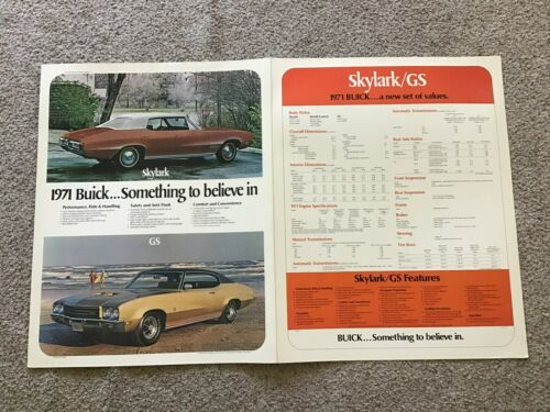 1971  Buick four-door an GS models, original dealership display two sided .