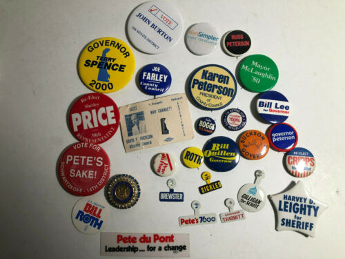Vintage Delaware Local Political Pin Pinback Button Lot w/ Coat Of Arms Brooch