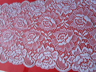 White Border Trim (elegant Lace Trim White elastic 18.3cm wide Border great offer #86 ENg)
