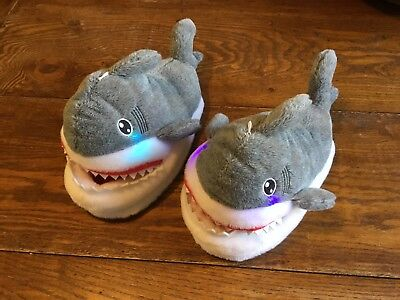 Children's Adult Light Up Shark Cotton Slippers Animal Plush Shoes Size 7-8 NWT - Shark Slippers Adult