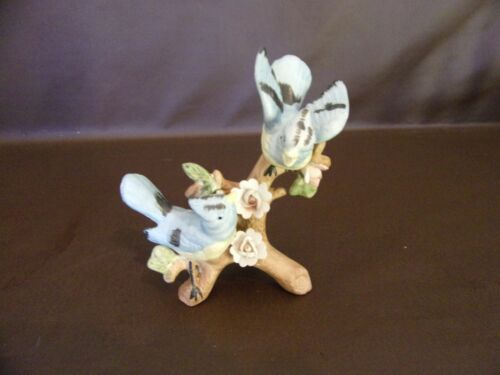 Ceramic Figurine Two Blue Birds Perched On A Branch