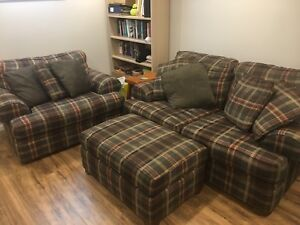 Sklar peppler brand couch, ottoman and love seat