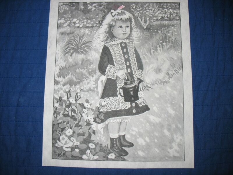 * TRI CHEM 8361 WATERING CAN GIRL IN THE FLOWER GARDEN Picture to paint TRICHEM