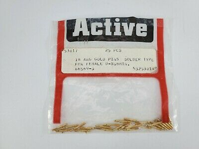 TE Connectivity 18 AWG 66569-3 Gold Pins - 25 Pieces