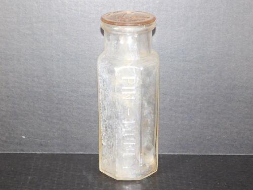 Antique 1898 Pin Money Pickle Octagonal Clear Glass Bottle Vintage Food Jar +Lid