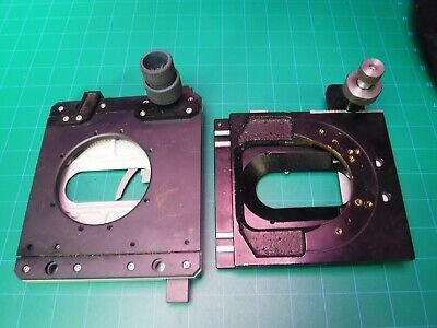 1 Lot 2 Microscope Stages Fits Zeiss Or Leitz Horse Shoe Mount