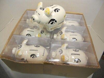 Lot of six (6) Iowa Hawkeyes Ceramic Piggy Banks Iowa Hawkeyes Piggy Bank