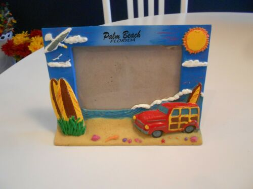 """palm beach florida 3-d picture frame gift corp-6 3/4"""" x 5"""" x 1"""" vg+"""