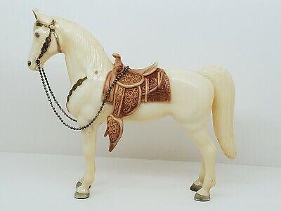 Nice Vintage Breyer Classic size Glossy White & Gold Western Pony with Saddle