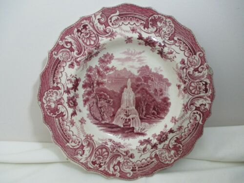 """19th Century E Wood & Sons Staffordshire Red Transferware Plate """"Fountain"""""""