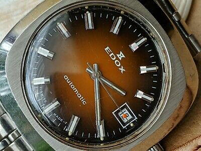Vintage Edox Watch w/Orange Rust Dial,Patina,Divers All SS Case,Orig Bracelet