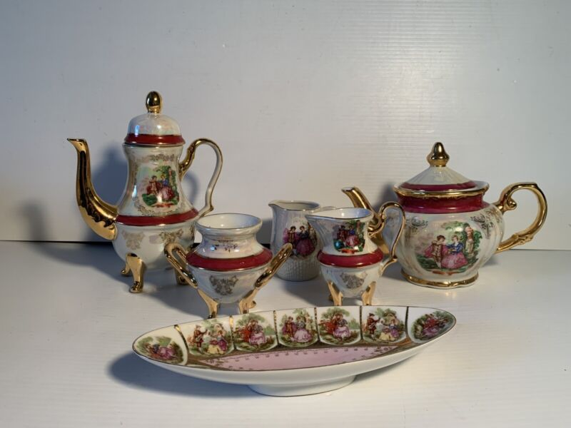Vintage Victorian Imperial  opal lusterware Porcelain Tea Set Made in Japan