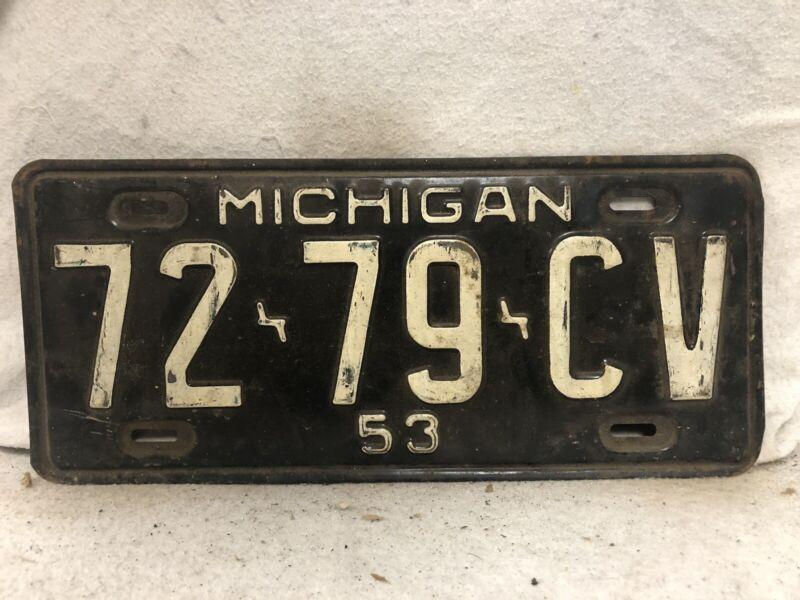 Vintage 1953 Michigan License Plate