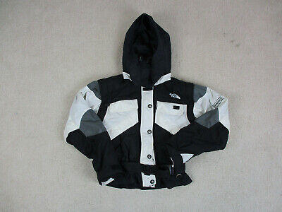 The North Face Jacket Womens Small White Black Outdoors Hooded Coat Ladies A42*