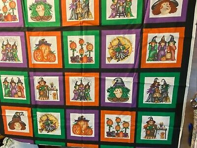 VINTAGE HALLOWEEN WITCHES,PUMPKINS BLOCK FABRIC BY MARCUS BROTHERS BY THE YARD