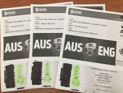 2x tickets Boxing Day Test (Days 1, 2 & 3) Prime seats