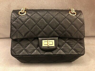Chanel 19A Mini Reissue 2.55 Black Gold Hardware Brand New In Box