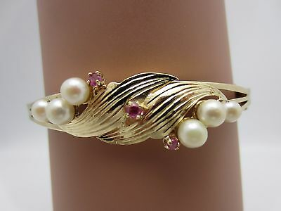 Antique Vintage 14K Yellow Gold Pearl Ruby Bangle Bracelet 6.5 in.