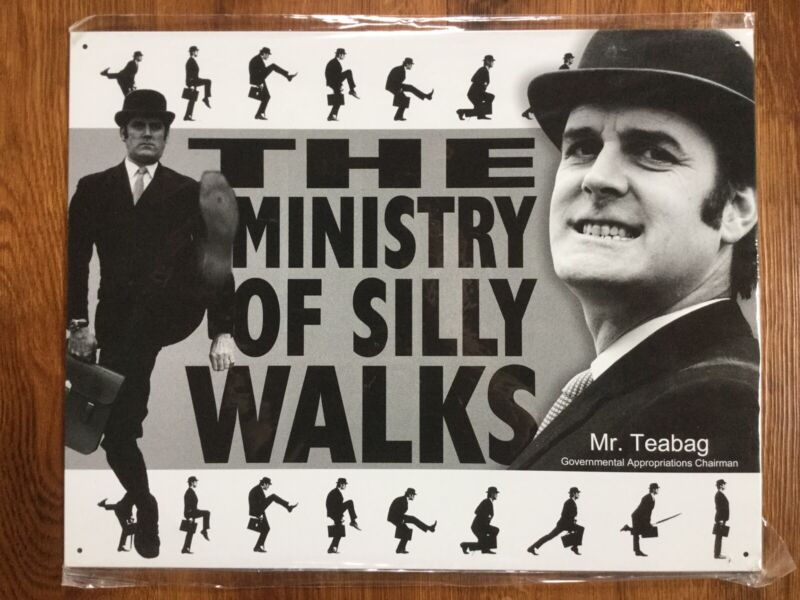 2003 Monty Python The Ministry Of Silly Walks Tin Sign New Old Stock