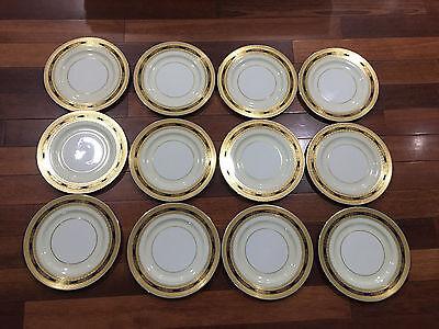 """Lenox Porcelain Set of 12 Cobalt Blue & Gold Encrusted Plates 10 1/2"""""""
