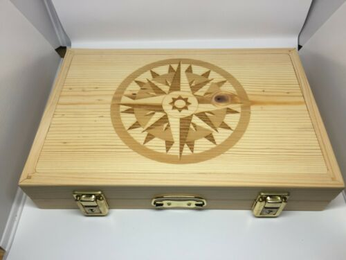 Pathtag  Collectors Briefcase-Pine with Laser Engraved Compass Rose