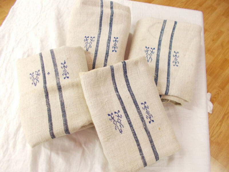 4 Vtg Antique BLUE STRIPE HEMP LINEN FEED SACK GRAIN BAG King Pillowcases 2 pair