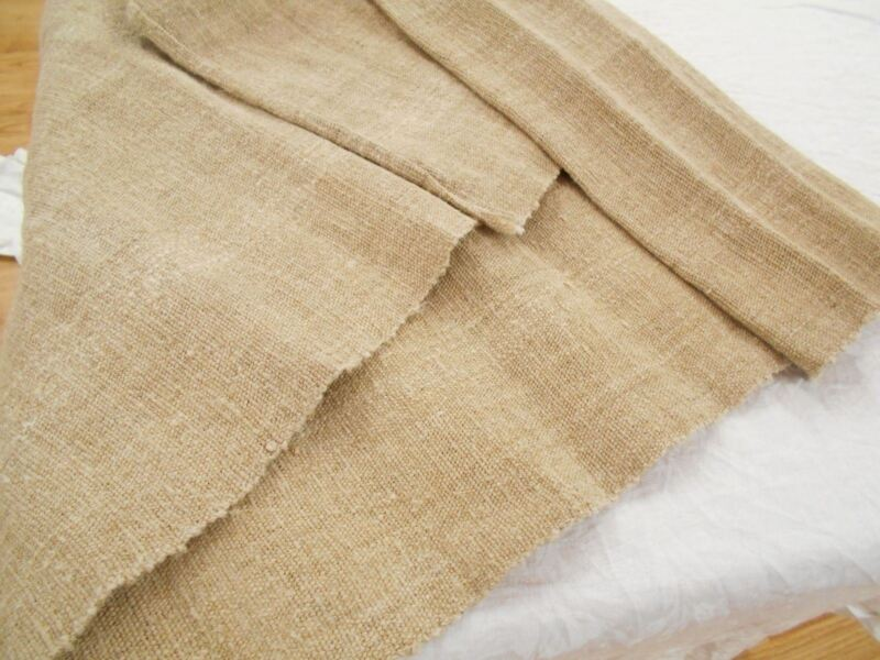 19x82 VTG Antique HEMP LINEN PRIMITIVE upholstery BOLT GRAIN BAG fabric 2 + YD