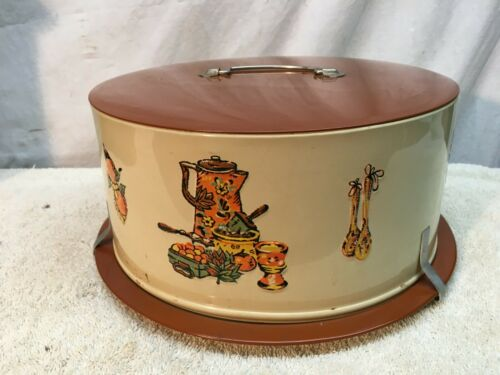 Vintage Decoware  Colored Cake Pie Tin Metal Carrier Saver Kitchen Helper