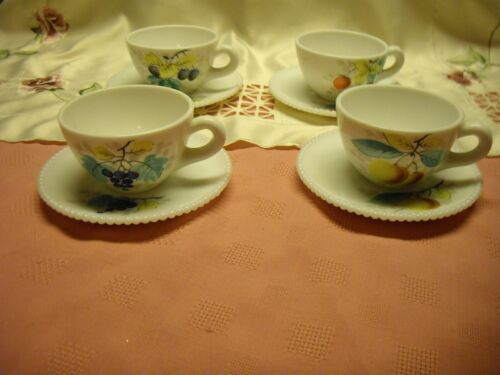 Set of 4 Westmoreland Beaded Milk Glass Cups & Saucers with Fruit Design